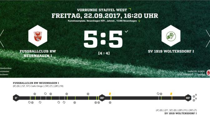 D1 gegen FC RW Neuenhagen I: 1 Punkt gewonnen, statt 2 verloren
